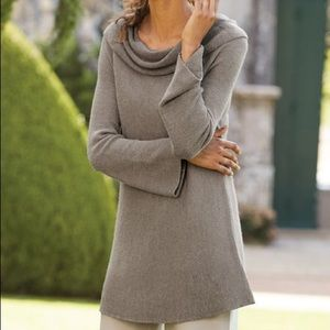 Soft Surroundings Taupe Chelsea Cashmere Sweater L